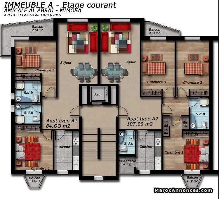 plan appartement haut standing